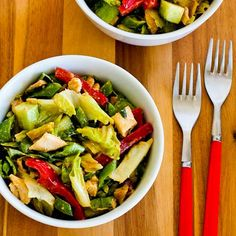 If you have fresh basil, you have to try this Spicy Chicken Salad with Sugar Snap Peas, Cucumber, Red Bell Pepper, and Basil. It's the spicy peanut butter dressing that makes this salad so good! [from KalynsKitchen.com] #LowCarb #GlutenFree