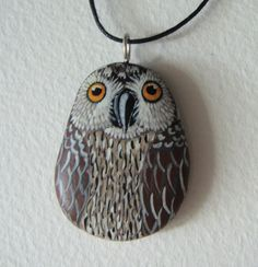 Owl pendant hand painted stone by Stonesfantasies on Etsy, €10.00
