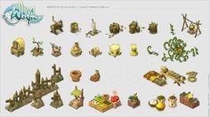 Colors and Universes. Game Environment, Environment Design, Prop Design, Game Design, Wakfu Mmorpg, Isometric Art, Pixel Art Games, Game Props, Building Art