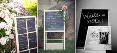 DIY Chalkboards for menus, directions, and general information.