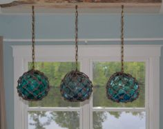 Vintage Glass Fishing Float Light Fixture, with 3 Floats/Lights