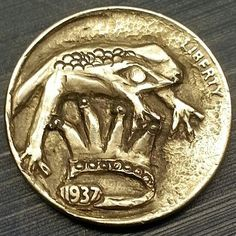 CAROLINE BASTABLE HOBO NICKEL - PRINCE CHARMING - 1937 BUFFALO NICKEL Hobo Nickel, Prince Charming, Frogs, Buffalo, Coins, Carving, Stuff To Buy, Animals, Art