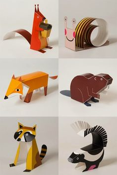 The art of paper folding; Here are a few Origami tutorials, some art works and products influenced by the ancient Diy With Kids, Crafts For Kids, Origami Paper, Diy Paper, Paper Animals, Cardboard Animals, Origami Animals, Paper Folding, Animal Crafts