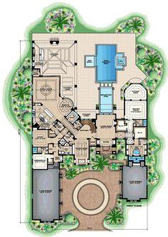 Florida Mediterranean House Plan 75933 Level One