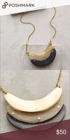 """New Anthropologie sliced horn necklace brass MADE is an ethical accessories brand with an eye on the long-term: sustainable every step of the way, they use responsibly sourced materials and invest in their employees. The skilled African artisans of MADE's Kenya workshop craft handmade jewelry using a blend of traditional and modern techniques.  By Made, a fair trade cooperative in Kenya Brass, horn Hook-and-eye closure Handmade in Kenya 18""""L with 2"""" extender chain 1"""" pendant  Style No…"""