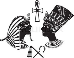 egypt stencils | Stock vector of 'ancient egypt king and queen, pharaon stencil'