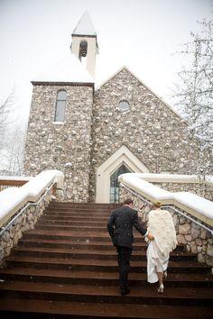 #winter, #church, #snow  Photography: James Christianson - www.jameschristianson.com  Read More: http://www.stylemepretty.com/southwest-weddings/2008/12/16/winter-wedding-wonderland/