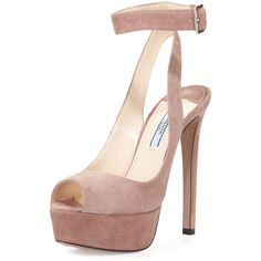 Prada Platform Ankle-Wrap Sandal ($840) ❤ liked on Polyvore featuring shoes, sandals, heels, dark rose, high heel sandals, ankle strap heel sandals, high heel shoes, platform shoes and heeled sandals