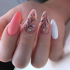The Best Nail Art Designs – Your Beautiful Nails Cute Nails, Pretty Nails, My Nails, Perfect Nails, Gorgeous Nails, Acrylic Nail Designs, Nail Art Designs, Acrylic Nails, Coral Nail Designs