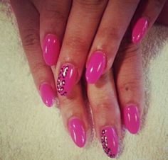 Pink #leopard #Almond nails