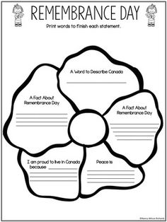 Remembrance Day in Canada, Reading and Writing. by Nancy Wilcox Richards Remembrance Day Poems, Remembrance Day Activities, Geography Of Canada, Poppy Craft For Kids, Seasons Lessons, 2nd Grade Reading Comprehension, Canada Eh, Teaching History, School Holidays
