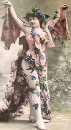 Hand Tinted RPPC of Actress in Ornate Fancy Grape