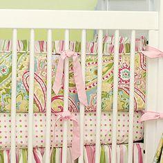 Baby Crib Bedding | Crib on Doodlefish Spring Paisley Crib Bedding Pink Green Paisley Crib