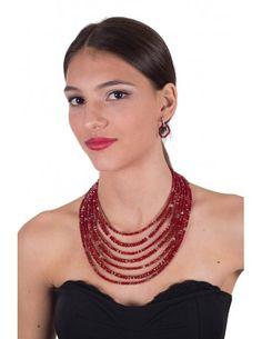 Pendientes círculo colgante cristal rojo en plata y circonitas. Cristal facetado de 4 mm. Dispone de collar y pulseras a juego. Modelo exclusivo Romy&Chic http://www.romyandchic.com/es