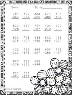 Spring Themed 3 Digit Subtraction With Regrouping Math Practice Worksheets, School Worksheets, Math Activities, Teaching Resources, English Teaching Materials, Math Sheets, Math Numbers, Math Stations, Elementary Math