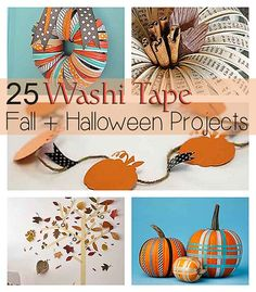 25 Inspiring and fun washi tape ideas to decorate for Fall, Thanksgiving or Halloween. Discover fun crafts for yourself or to share with your kids. Thanksgiving Crafts, Fall Crafts, Holiday Crafts, Holiday Fun, Diy Washi Tape Crafts, Diy Crafts, Handmade Crafts, Holidays Halloween, Halloween Crafts