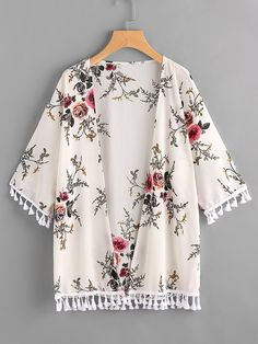 Women's Clothing, Swimsuits & Cover Ups, Cover-Ups, Women's Flower Print Open Shoulder Kimono Cardigan Cover Up - Apricot - CP189U7Z3GW   #women #fashion #clothing #style #outfits #Cover-Ups #Women's Clothing, Swimsuits & Cover Ups, Cover-Ups