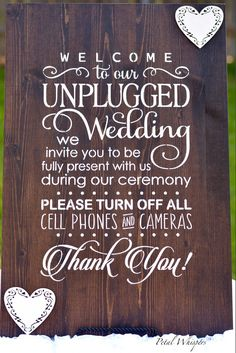 Wedding Unplugged Sign - Wood Wedding Sign - Rustic Wedding Decor - Unplugged Wedding Sign - Wedding Reception Sign by PetalWhispers on Etsy Unplugged Wedding Sign, Wedding Reception Signs, Wood Wedding Signs, Wedding Signage, Wedding Pallets, Trendy Wedding, Fall Wedding, Rustic Wedding, Our Wedding