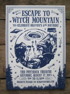 Escape to Witch Mountain Letterpress Kids Birthday Party Invitations