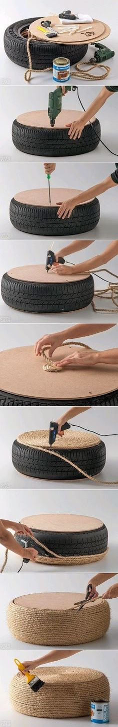 DIY Nautical Rope Ottoman � recycled tire