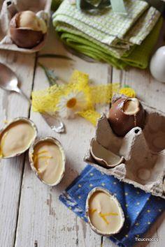 Uova di cioccolato ripiene di crema alla ricotta e limone