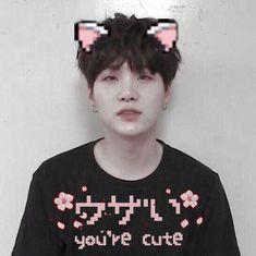 ♡˚✧₊⁎you're cute⁎⁺˳✧༚ ♡ image by バイ. Discover all images by バ Seokjin, Hoseok, Kim Namjoon, Kim Taehyung, Jimin, Min Yoongi Bts, Min Suga, Min Yoongi Wallpaper, Bts Wallpaper