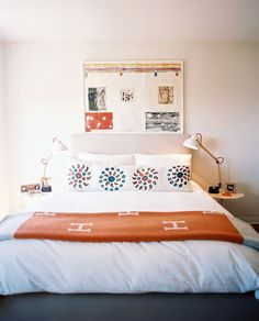 Bedroom inspiration - linen headboard white with pops of color Decor Interior Design, Interior Decorating, Interior Styling, Hermes Blanket, Bedroom Photos, White Bedroom, Modern Bedroom, Home Accents, Decoration