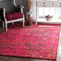 nuLOOM Traditional Vintage Modern Cherry Pink Rug x (Cherry), Size x (Polypropylene, Abstract) Vintage Modern, Vintage Rugs, Affordable Rugs, Floral Area Rugs, Machine Made Rugs, Rugs Usa, Area Rug Sizes, Contemporary Rugs, Rugs