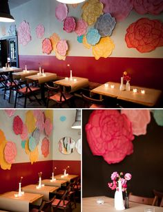 hand painted giant roses as wall decor for a wedding or other fun parties by amy osaba event design
