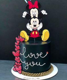 Bolo Mickey E Minnie, Mickey Cakes, Disney Mickey, Mickey Mouse, Pastel Mickey, Saint Valentine, Buttercream Cake, Themed Cakes, Cake Designs