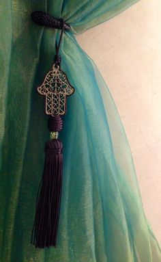 Hamsa Tassels fancy everything up! Hamsa Art, Indian Eyes, Tassel Curtains, Ethnic Decor, Moroccan Design, Hand Of Fatima, House Colors, Home Deco, Decor Styles