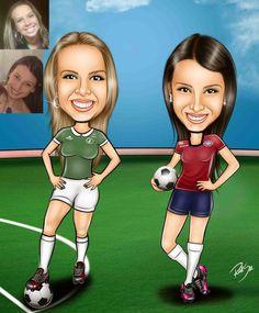 Caricaturas digitais, desenhos animados, ilustração, caricatura realista: Mulheres e o futebol !!