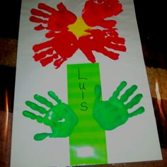 School Art Projects: I made this with my kindergarteners using paint and their little hands. The theme for my display was: April Showers bring Kindergarten flowers! Use with any lower elementary grade!! Have fun!