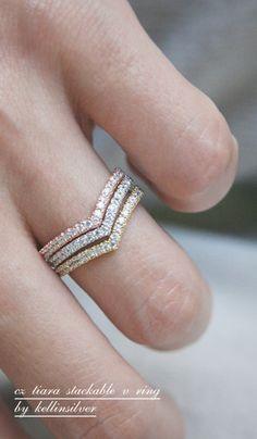 CZ Stackable Tiara Ring V Rose Gold at Kellinsilver.com  tri-tone stackable rings