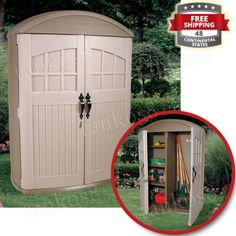 Big-Outdoor-Organizer-Cabinet-Vertical-Storage-Shed-Tool-Garden-Material-Plastic