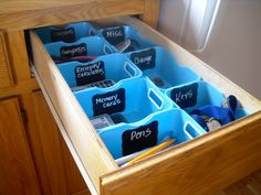 Organize the Junk Drawer using Target Dollar Section!! organize the junk drawer with cheap bins and chalkboard labels ...