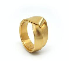 ORRO Contemporary Jewellery Glasgow - Leen Heyne - Gold Enfold Wedding Ring - Modern Folded Wedding Rings by Leen Heyne at ORRO Jewellery Glasgow Scotland