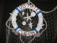 Fake-It Frugal: Nautical Life Ring Wreath - pool noodle, paper mache, dollar store finds