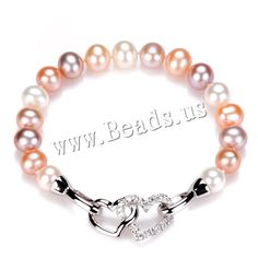 Freshwater Cultured Pearl Bracelet, Freshwater Pearl, brass foldover clasp, Potato, silver color plated, natural & micro pave cubic zirconia, multi-colored, 8-9mm,china wholesale jewelry beads