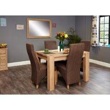 Aston Oak Furniture 4 Seater Dining Table & Hazelnut Chair Set