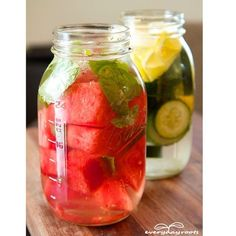 Make Your Own Detox Drink for Daily Enjoyment & Cleansing  Whether you're just trying to steer clear of the sugary drinks, or aim to really help your body flush out any toxins lurking in your system, this refreshing blend of foods and flavors will satisfy your tastebuds needs.  Included: Watermelon/cucumber, lemon/lime, mint leaves, and water.  http://everydayroots.com/detox-drink-for-cleansing