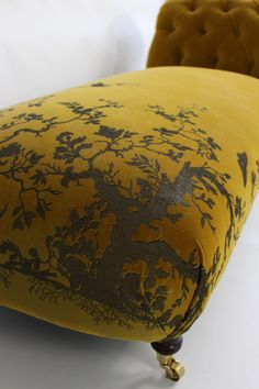 Furniture - Timorous Beasties BIRDBRANCH HONEY CHAISE UPHOLSTERY: BIRDBRANCH VELVET PANEL IN HONEY