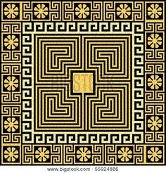 Stock vector of 'set Traditional vintage golden square Greek ornament (Meander) and floral pattern on a black background' Greek Pattern, Pattern Art, Pattern Design, Hellenistic Art, Capricorn Art, Geometric Symbols, Golden Pattern, Floral Pattern Vector, Pattern And Decoration