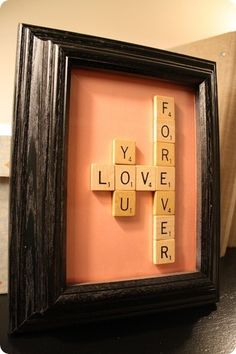Scrabble letters are cute for all kinds of things! I Added my children names and the original scrabble board we used to play on with a picture. Too adorable. Scrabble Crafts, Scrabble Letters, Scrabble Tiles, Scrabble Coasters, Craft Gifts, Diy Gifts, Handmade Gifts, Decoration St Valentin, Decoration Crafts