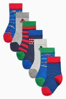 Socken mit Fahrzeugmotiven im Siebenerpack, blau (Jüngere Jungen)