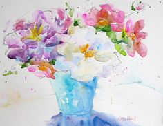 "Hand Painted Original Watercolour Painting of fresh cut flowers in turquoise vase, floral, still life, great gift!! - 8x10"" on paper"