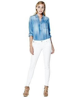 Retro Pencil Straight Jeans in Optic White Wash at Guess