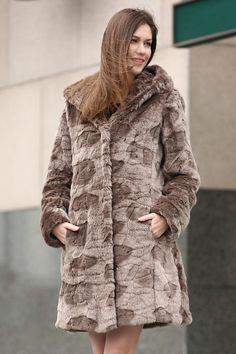 a2b08cf9a8 Brown Lush Karakul Faux Fur Hooded Coat