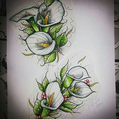 Amazing little neo traditional calla lilies tattoo design which was created by with their Chameleon Pens. Calla Lily Tattoos, Mago Tattoo, 4 Tattoo, Tattoo Baby, Tattoo Flash, Traditional Tattoo Flowers, Neo Traditional Tattoo, Kunst Tattoos, Body Art Tattoos