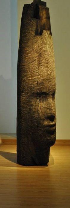 "Mustafa Ali (Syrian, b.1956) ~ Wood Sculpture ""Guillotine"""